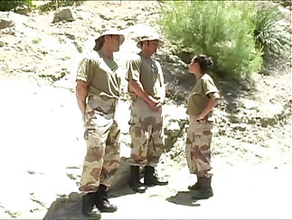 Army girl gets three assholes fucked