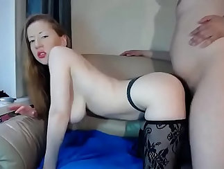 Busty blond TS with stockings gives her head and gets banged
