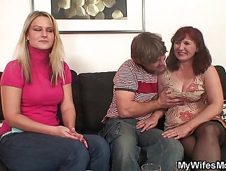 Big titted stockings girlfriend tugging his throbbing cock