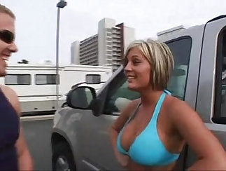 Busty blonde amateur college group sex in hotel room