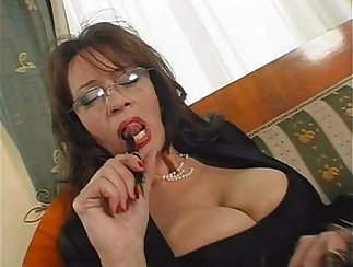 Busty mature hotel barmswoman banged by her boss