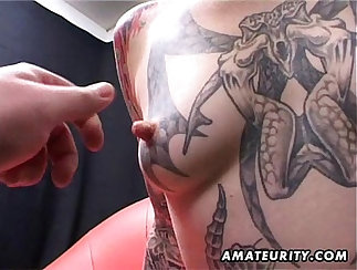 Amateur milf blowjob and cumshot on her body