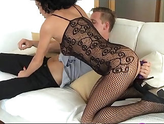 Blonde double bound submissive strapon