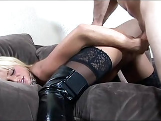 big tits blonde in black stockings does dick workout